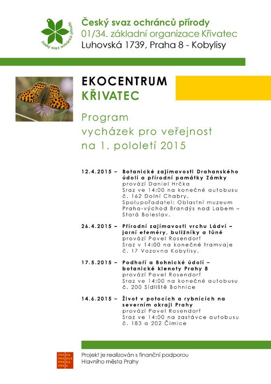 Program vycházek pro veřejnost na 1.pololetí 2015
