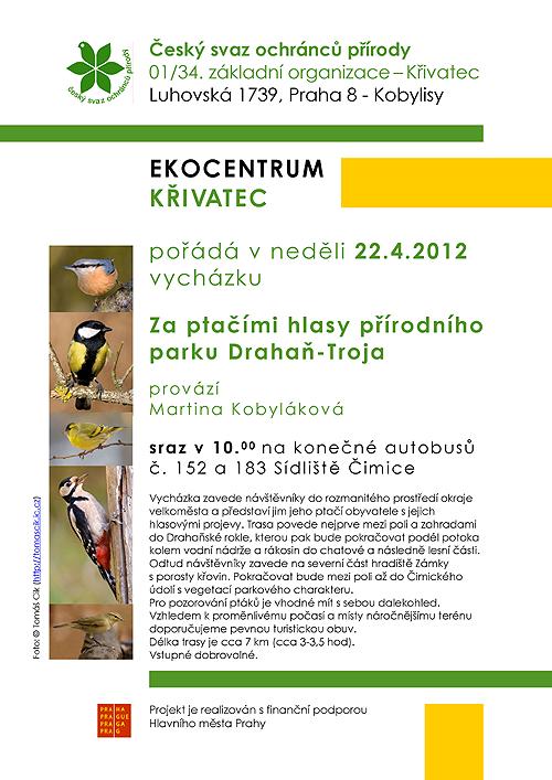 pozvánka na vycházku Za ptačími hlasy přírodního parku Drahaň-Troja