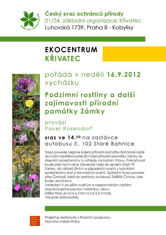 pozvánka na vycházku Podzimní rostliny a další zajímavosti PPZámky