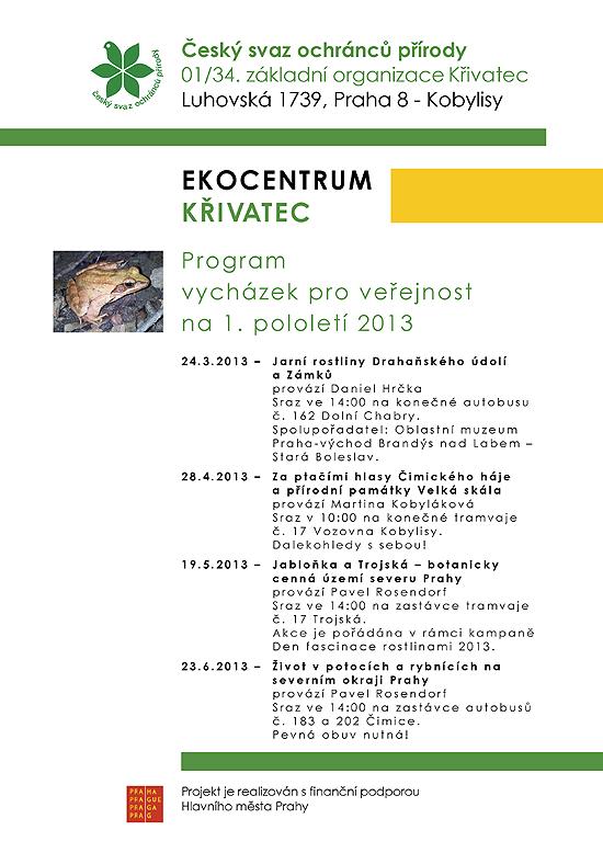 Program vycházek na 1.pololetí 2013
